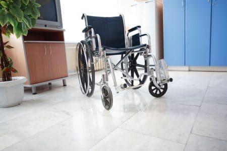 clean manual wheelchair in waiting room