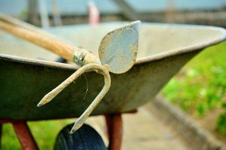 hoe and wheelbarrow in the garden