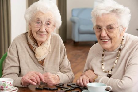 two elderly ladies enjoying a large print game