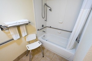 shower chair in the bathroom