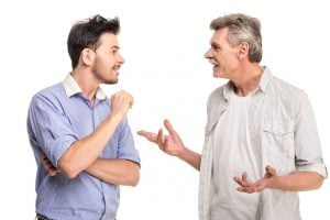 man explaining health care to his son