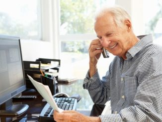 senior man with easy job at home
