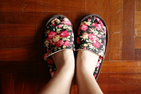 pair of flowered house shoes