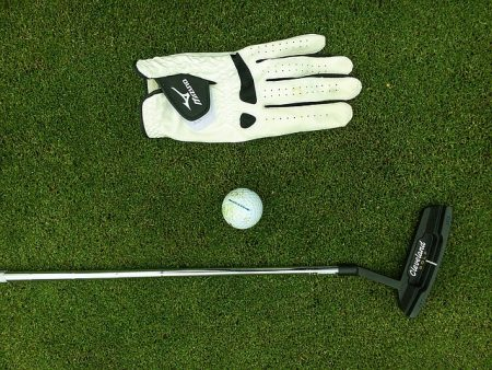a white golf glove, golf ball, and a putter laying on a green