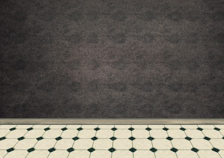 white and black linoleum floor against a dark wall