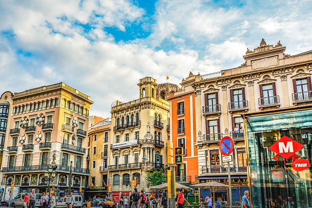colorful buildings of the barcelona cityscape