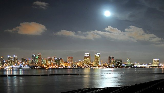 The San Diego waterfront and skyline at night with a full moon in the sky