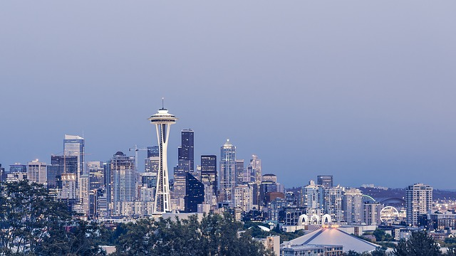Downtown Seattle Washington skyline with the space needle in the foreground