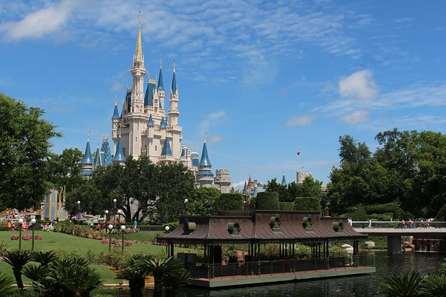 Cinderella's castle at Walt Disney World with a blue sky in the background on a summer day