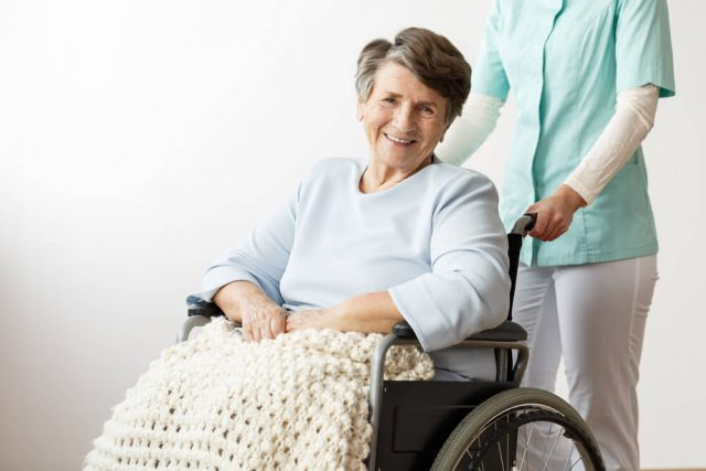 woman in properly fit wheelchair for narrow doorways