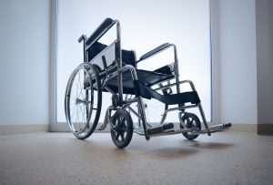 manual wheelchair against a white background