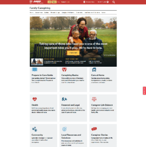 aarp caregiving hub screenshot