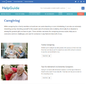 caregiving home page screenshot
