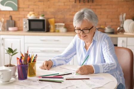 senior woman coloring book
