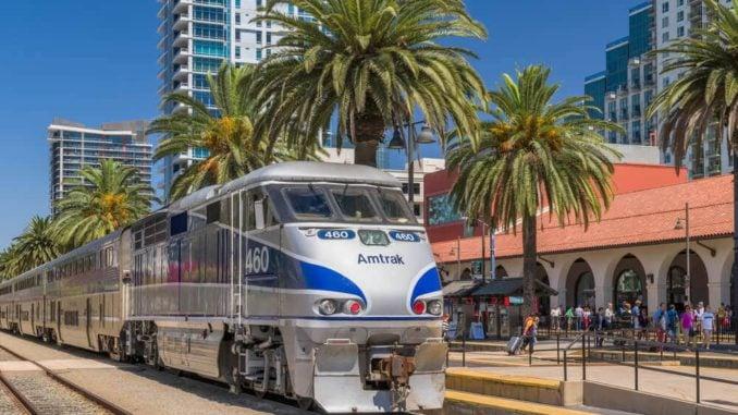 amtrak train in Santa Fe station