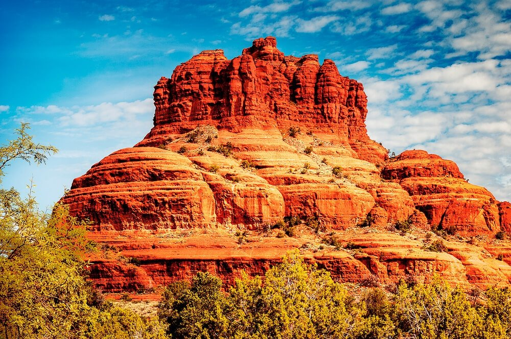 the red mountains and Bell Rock in Sedona AZ
