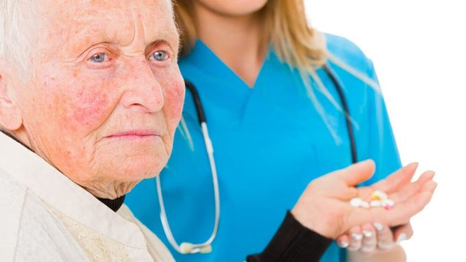 senior woman refusing to take her medicine out of self neglect