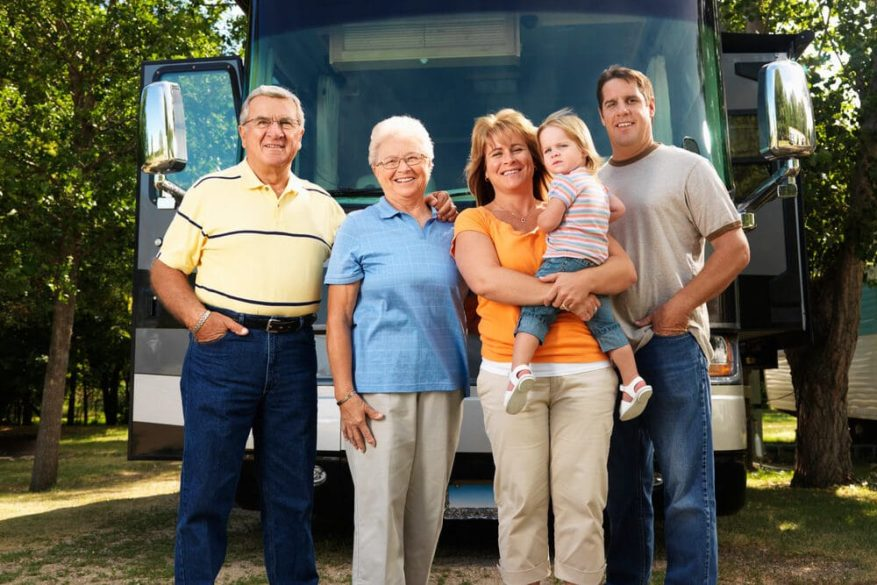 family leaving on vacation for elderly parents