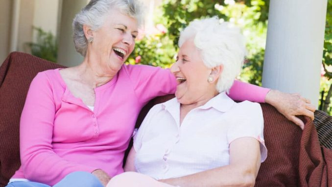 senior women laughing at elderly gag gifts