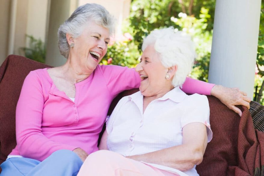 senior women laughing at elderly gag gifts