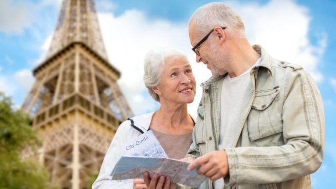 senior couple in paris on a european trip