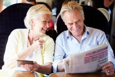 senior couple on an Amtrak train trip