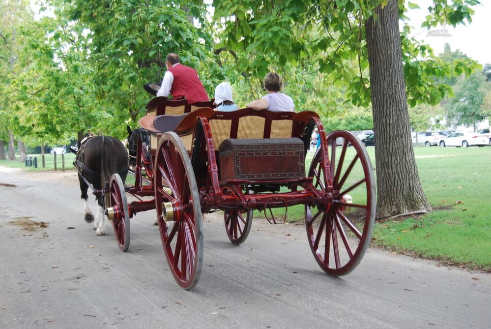 taking a carriage ride in Williamsburg, VA