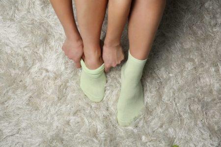 putting on socks
