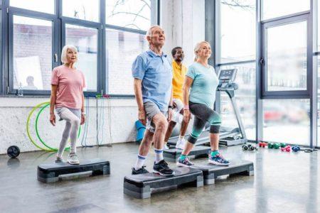 seniors in aerobic class