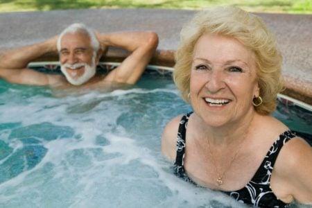 seniors in a hot tub