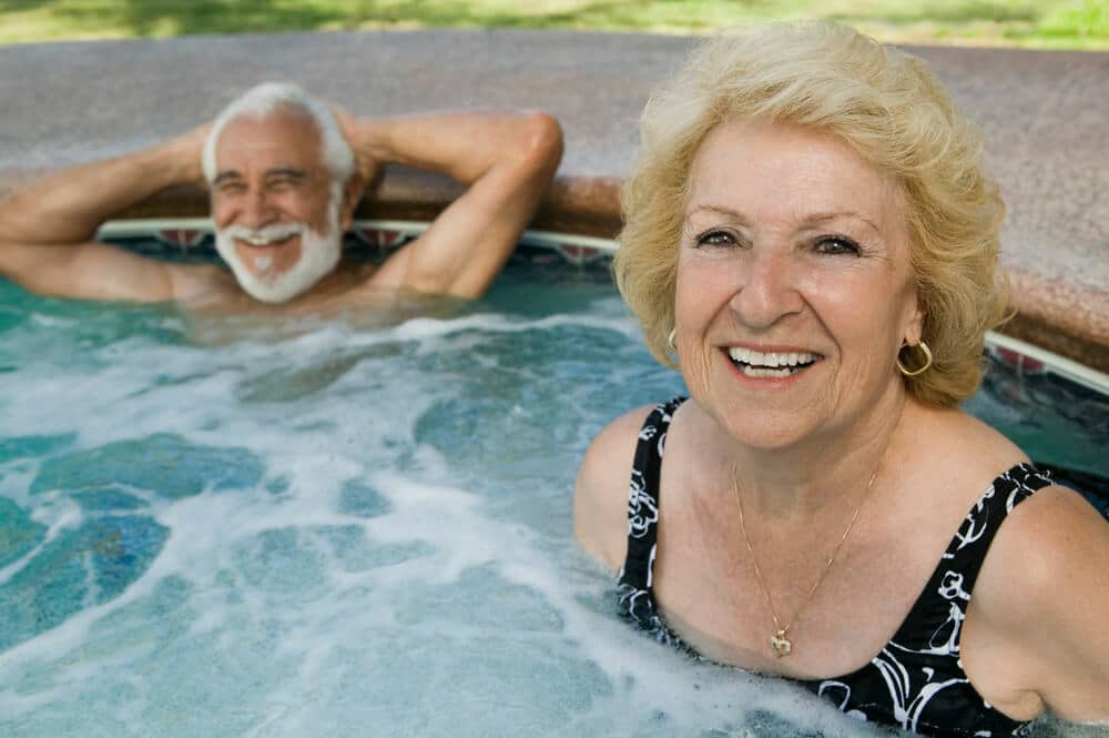 seniors in a hot tub