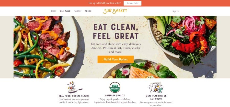 Sun Basket Meal Delivery Home Page