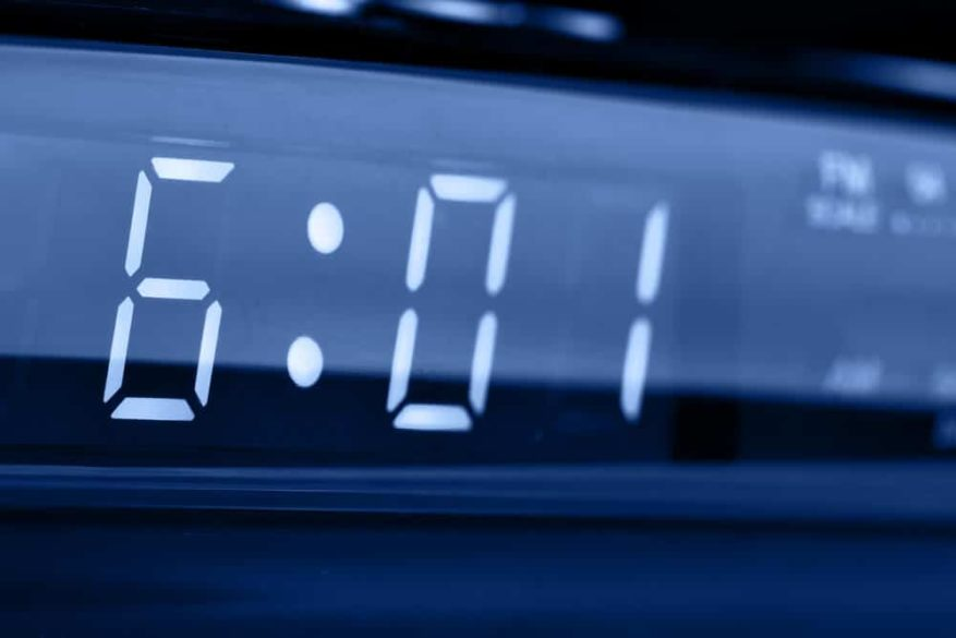 close up of a clock radio with large display