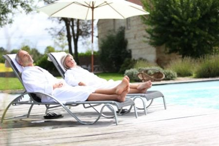senior couple relaxing at the spa