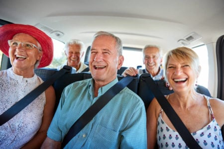 senior friends on a sightseeing tour