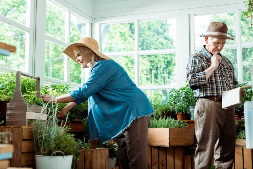 seniors with arthritis doing gardening as a hobby