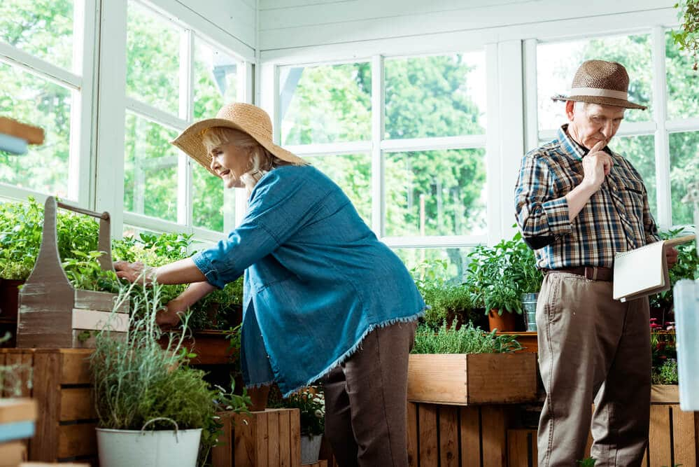 seniors with arthritis doing gardening as a hobby