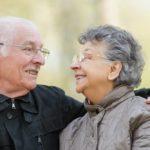 smiling elderly parents