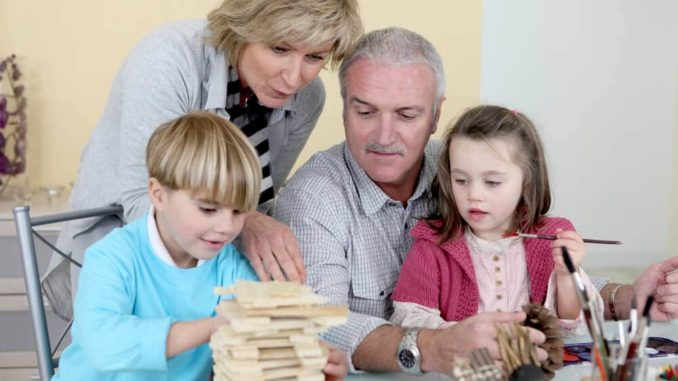 grandkids doing fun activities with grandparents