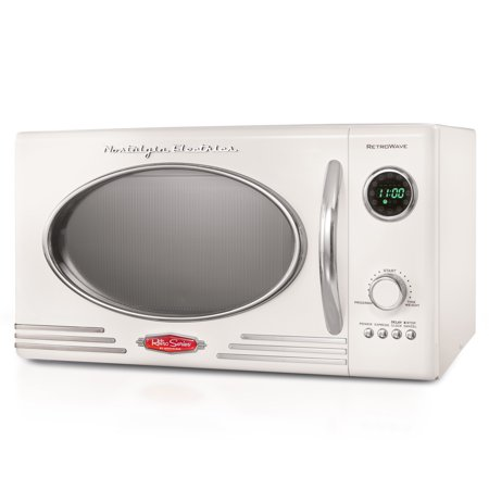 Nostalgia RMO4IVY Retro 0.9 Cubic Foot 800-Watt Countertop Microwave Oven, 5 Power Levels and 12 Cook Settings, LED Display - Ivory