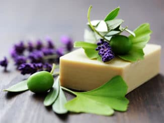 bar of soap with lavender berries and greenery