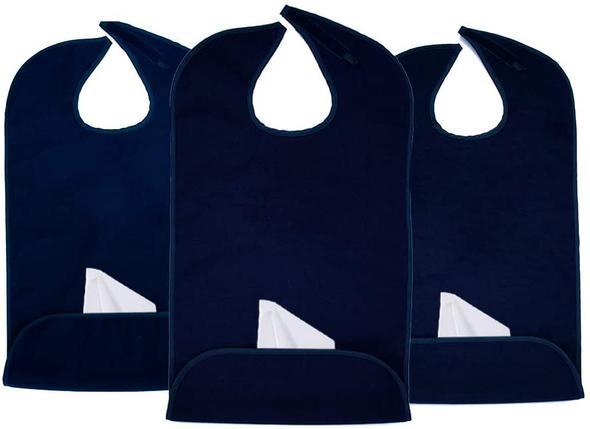 Adult Bib Plain Navy Blue (3 Pack)