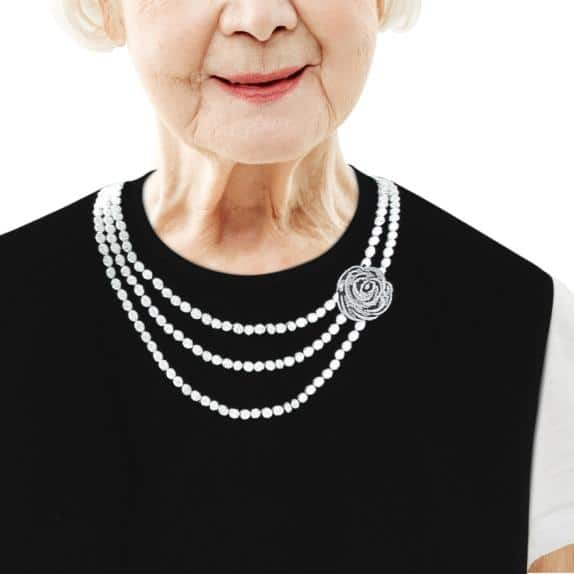 Women's Adult Bib with Pearl Necklace – Classy Pal