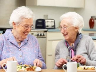 elderly ladies enjoying a protein foods together