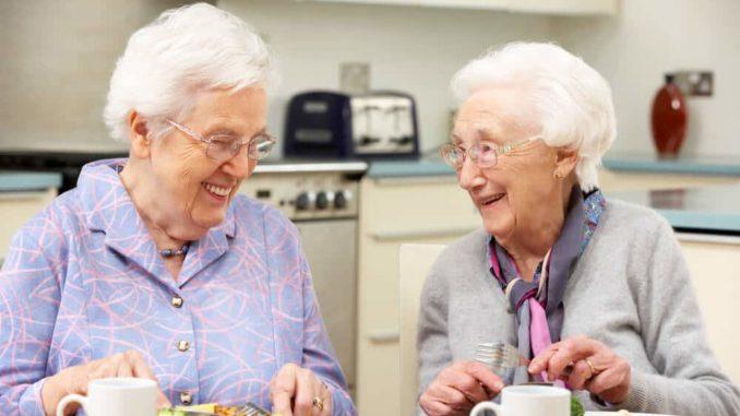 elderly ladies enjoying a protein foods together