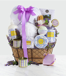 Lavender Spa Getaway Gift Basket at Just Flowers