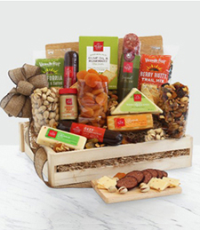 Deluxe Meat & Cheese Wooden Gift Crate at Just Flowers