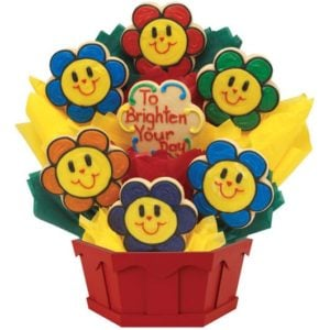 Smiling Face Daisies Cookie Bouquet | Cookies by Design