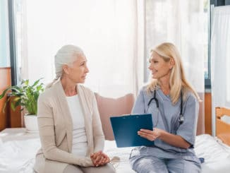 senior woman seeking medical advice after a fall