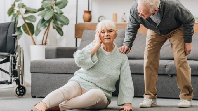 senior woman practicing safe falling techniques for the elderly